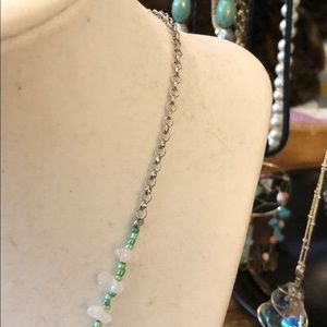 Divine Sparrow Jewelry - Silver Arrowhead With Green and Pink Necklace